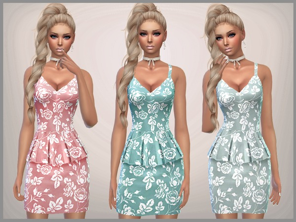 Sims 4 Patterned Peplum Dress by SweetDreamsZzzzz at TSR