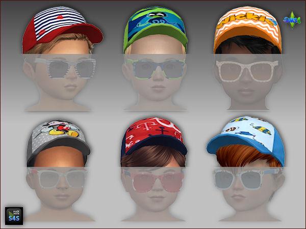 6 swimtrunks, caps and sunglasses for toddlers (boys) at Arte Della Vita image 3722 Sims 4 Updates