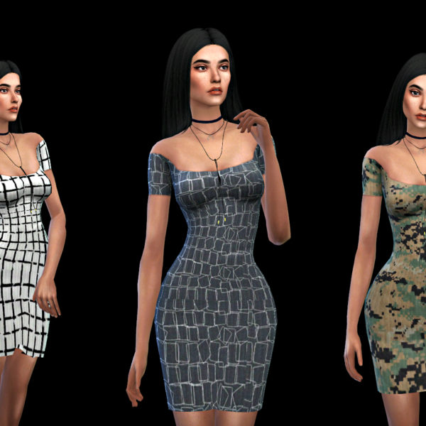 Sims 4 Off Shoulder Claire Dress at Leo Sims