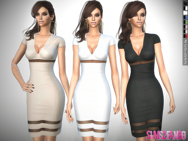 Sims 4 311 Medium Transparent Dress by sims2fanbg at TSR