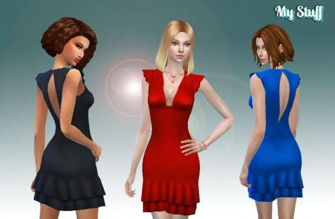 Sims 4 Short Ruffle Dress Conversion at My Stuff