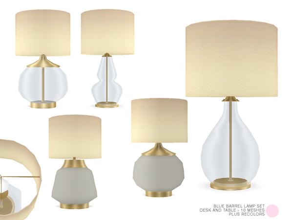 Sims 4 Blue Barrel Lamp Set by DOT at TSR