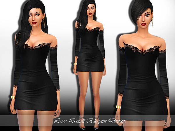 Sims 4 Lace Detail Elegant Dress by Saliwa at TSR