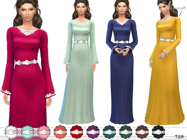 Embroidered Gown With Belt by ekinege at TSR image 4219 Sims 4 Updates