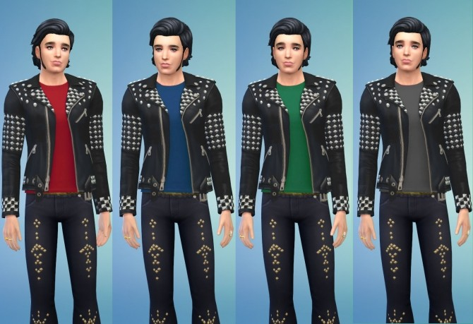 Sims 4 Elvis Wear Studded Jeans and Jackets by Snowhaze at Mod The Sims