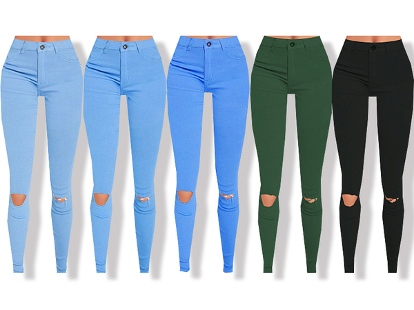 Sims 4 High Waisted Skinny Jeans by Pinkzombiecupcakes at TSR