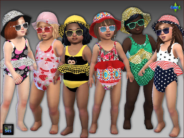 Sims 4 6 sets swimsuits, hats and sunglasses for toddlers at Arte Della Vita