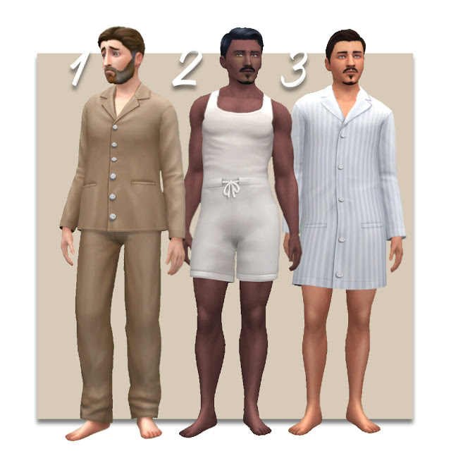 Sims 4 Edwardian Mens Nightwear at Historical Sims Life