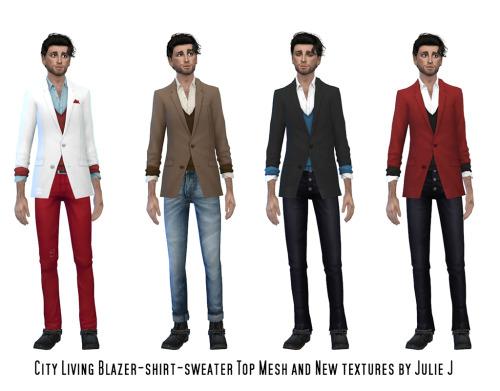 Sims 4 City Living Blazer Shirt Sweater Top (UPDATED) at Julietoon – Julie J