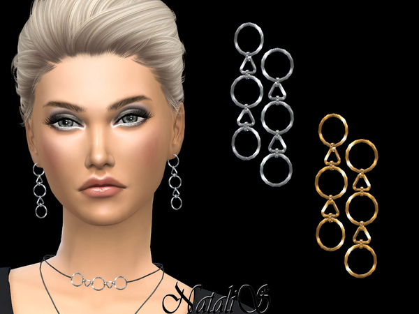 Geometric pendants drop earrings by NataliS at TSR image 4820 Sims 4 Updates
