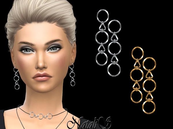 Sims 4 Geometric pendants drop earrings by NataliS at TSR