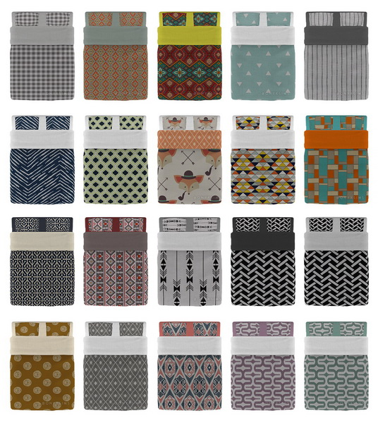 Sims 4 Neutral Double Bedding Collection at Onyx Sims
