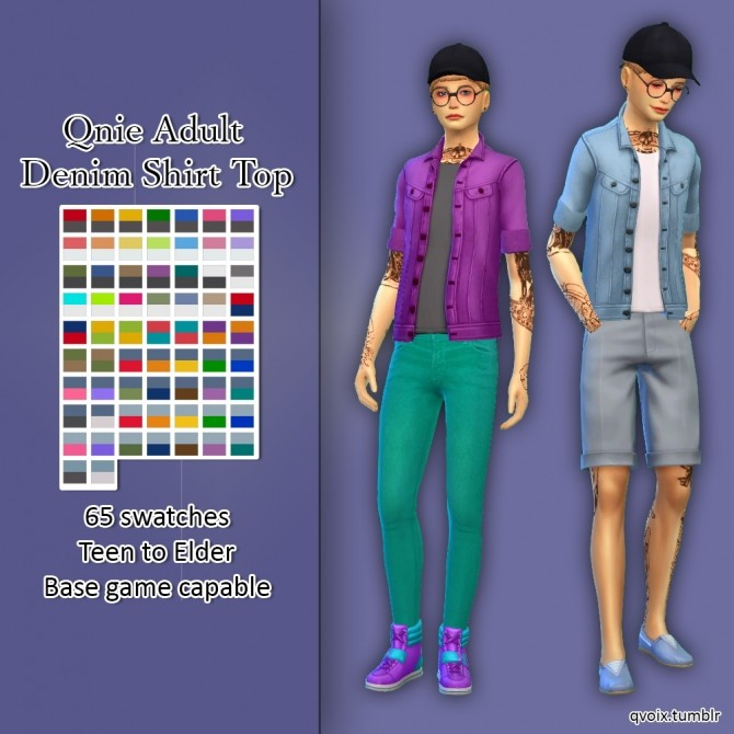 Sims 4 Qnie Denim Shirt Top at qvoix – escaping reality