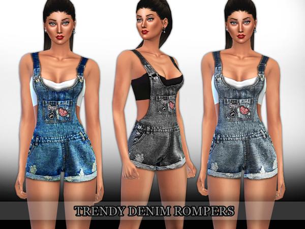 Sims 4 Trendy Denim Rompers by Saliwa at TSR