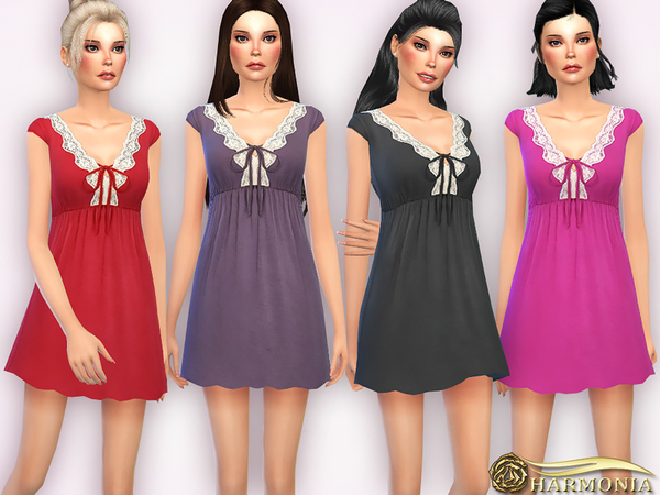 Sims 4 Lace trimmed Cotton Chemise by Harmonia at TSR