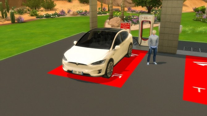 Sims 4 Tesla Model X and Supercharger at LorySims