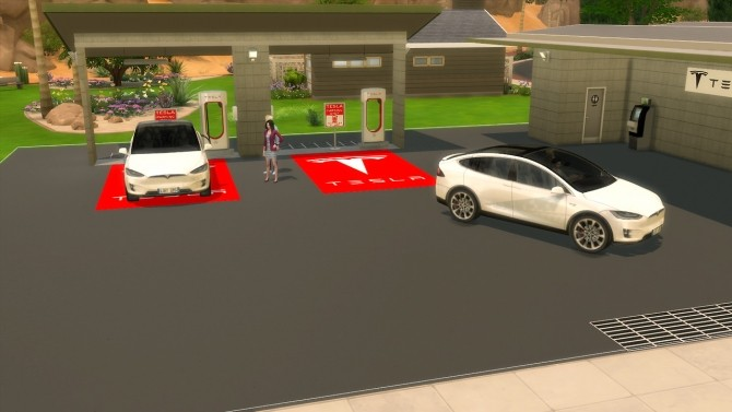 Tesla Model X And Supercharger At Lorysims 187 Sims 4 Updates