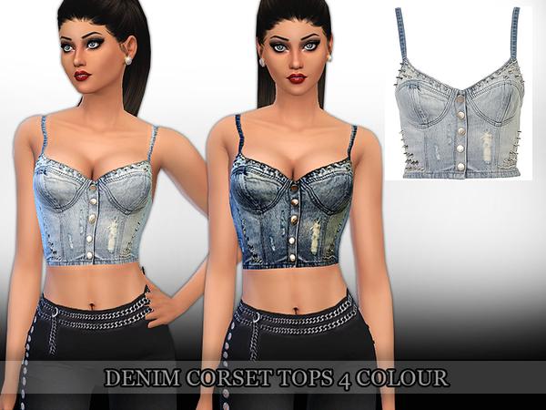 Sims 4 Denim Corset Top by Saliwa at TSR