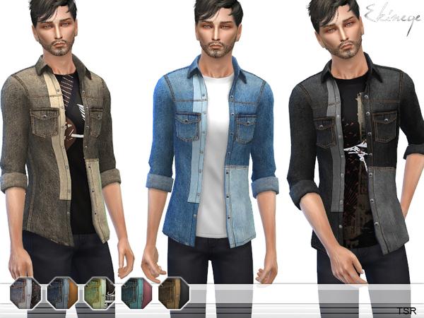 Patchwork Denim Shirt by ekinege at TSR image 5108 Sims 4 Updates