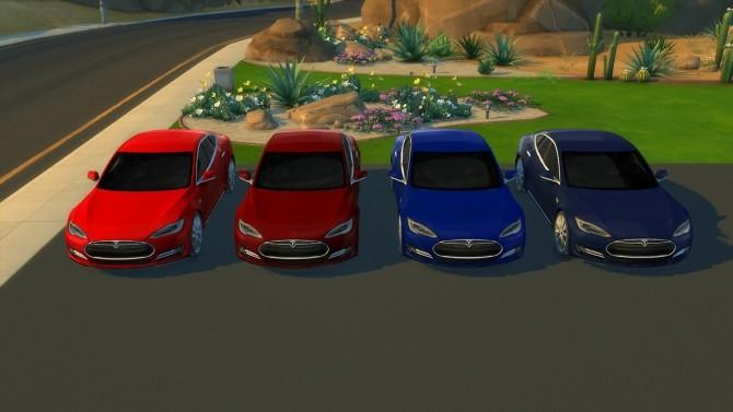 Sims 4 Tesla Model S at LorySims