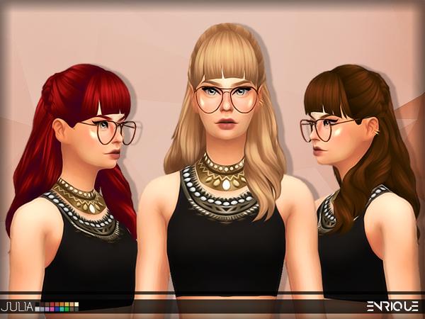 Sims 4 Enriques4 Julia Hair by Jruvv at TSR
