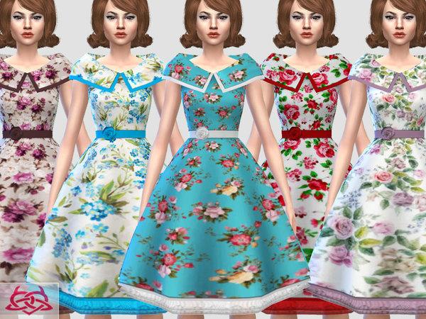 Sims 4 Martita floral dress recolor by Colores Urbanos at TSR
