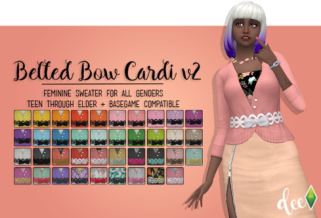 Belted Bow Cardi v.2 at Deetron Sims image 572 Sims 4 Updates