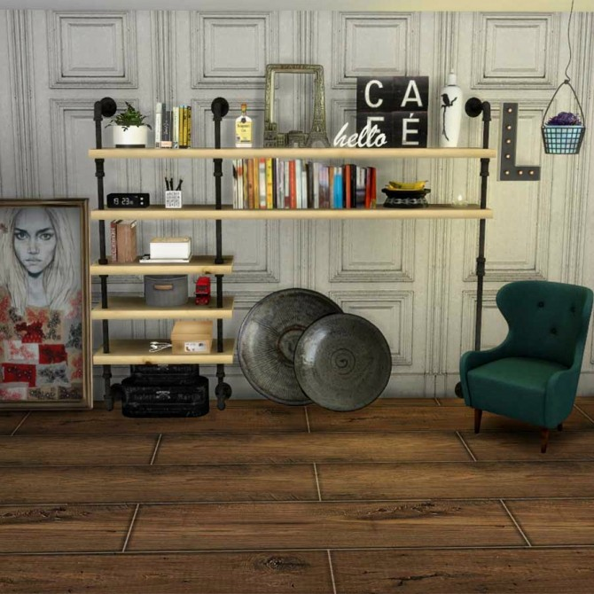 Sims 4 Laforma armchair and pipe shelf at Leo Sims