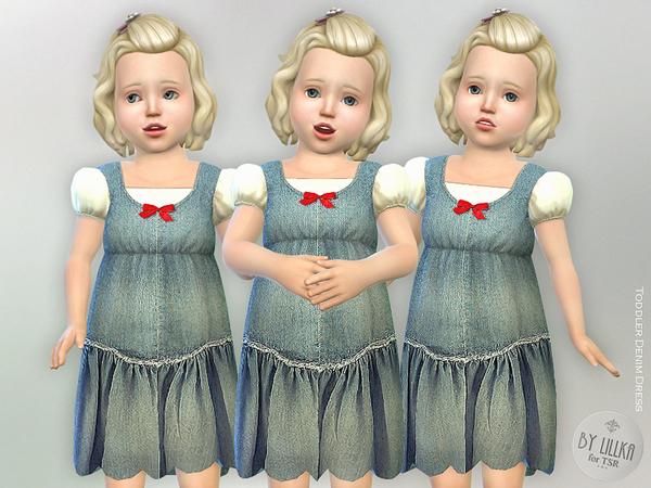 Sims 4 Toddler Denim Dress by lillka at TSR