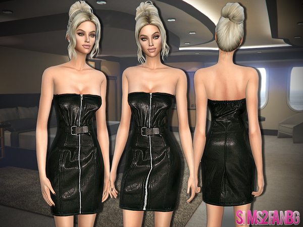Leather Zip Dress by sims2fanbg at TSR image 638 Sims 4 Updates