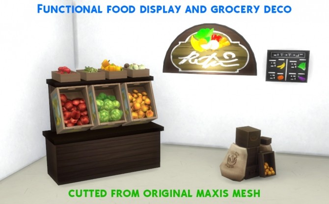 Sims 4 Functional Grocery Set Cutted Meshes by AlexCroft at Mod The Sims