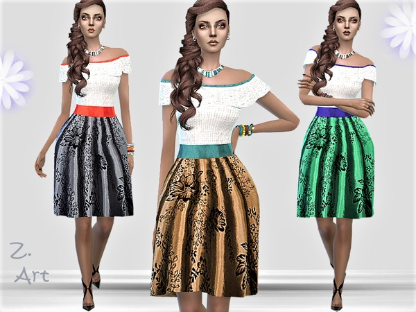 Sims 4 LadieZ 02 colorful dress by Zuckerschnute20 at TSR