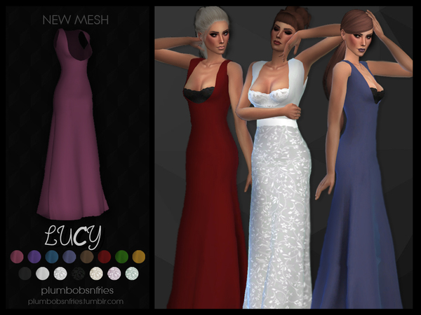PnF Lucy long dress by Plumbobs n Fries at TSR image 7116 Sims 4 Updates