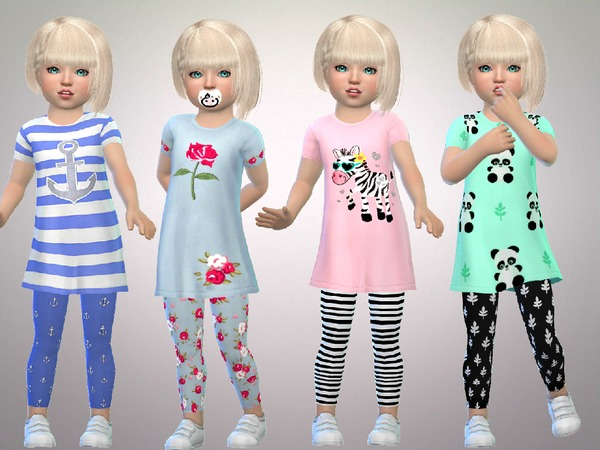 Sims 4 Toddler Girls Full Outfits by SweetDreamsZzzzz at TSR