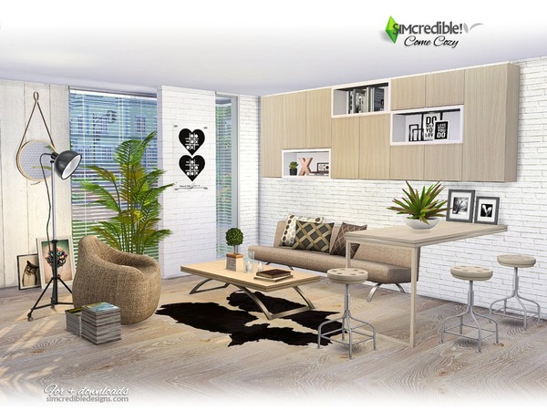 Sims 4 Come Cozy living by SIMcredible! at TSR