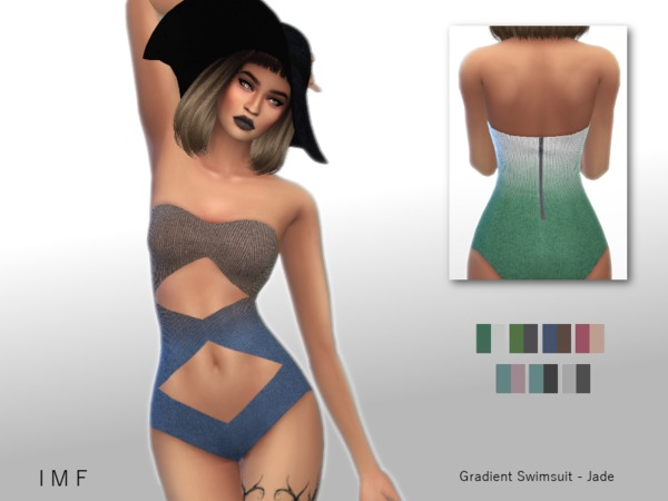 Sims 4 IMF Gradient Swimsuit Jade by IzzieMcFire at TSR