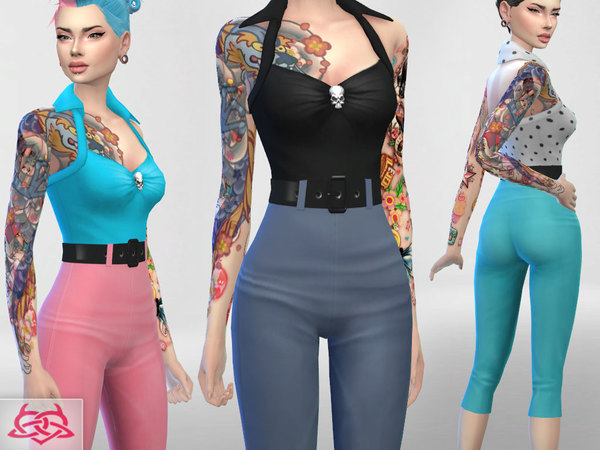 Tank, high waist pants, hair, shoes Set 2 by Colores Urbanos at TSR image 739 Sims 4 Updates