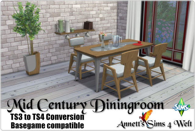 TS3 To TS4 Conversion Mid Century Diningroom At Annett S Sims 4 Welt Sims 4