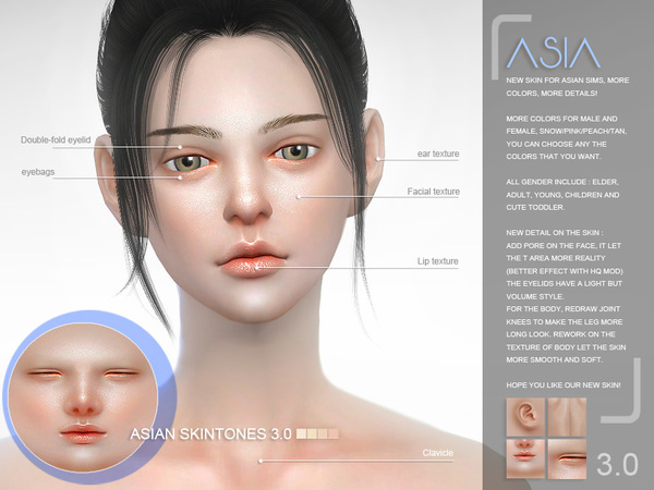 ASIAN skintones 3.0 all ages by S Club WMLL at TSR image 7612 Sims 4 Updates
