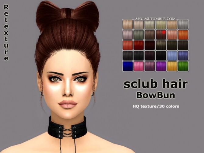 Sims 4 SClub BowBun hair retexture at Angissi
