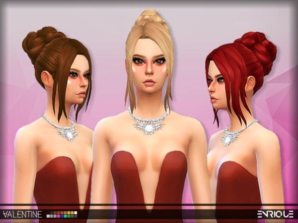 Sims 4 Enriques4 Romantic Hair by Jruvv at TSR