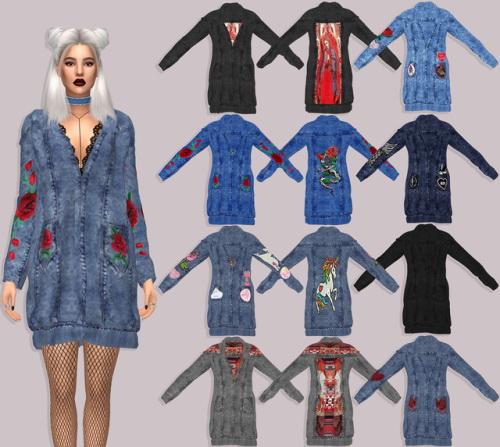 Sims 4 Denim Dress at Lumy Sims