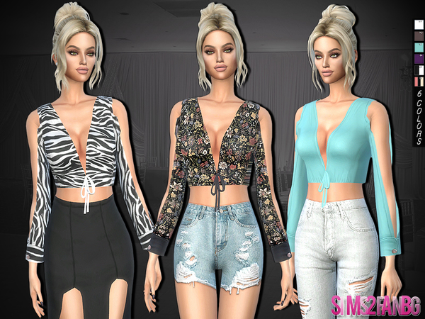 Sims 4 312 Top With Bow by sims2fanbg at TSR