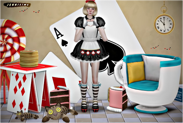 Sims 4 Alice Up Set Vol 48 Deco, Chair, Table at Jenni Sims