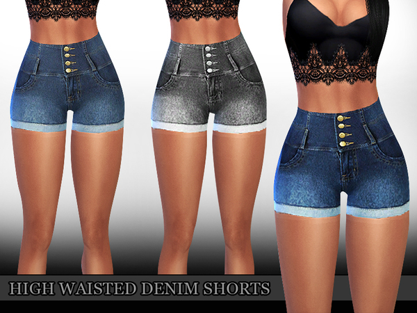 High Waisted Denim Shorts by Saliwa at TSR image 8911 Sims 4 Updates