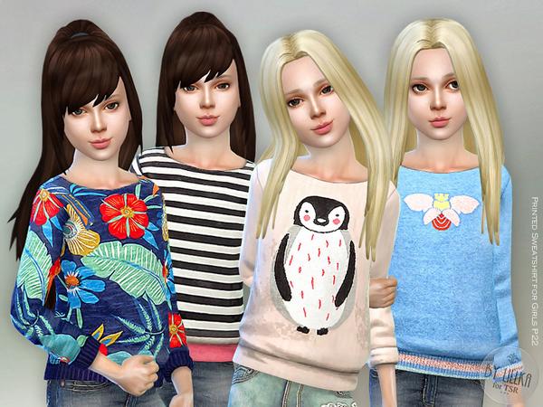 Sims 4 Printed Sweatshirt for Girls P22 by lillka at TSR