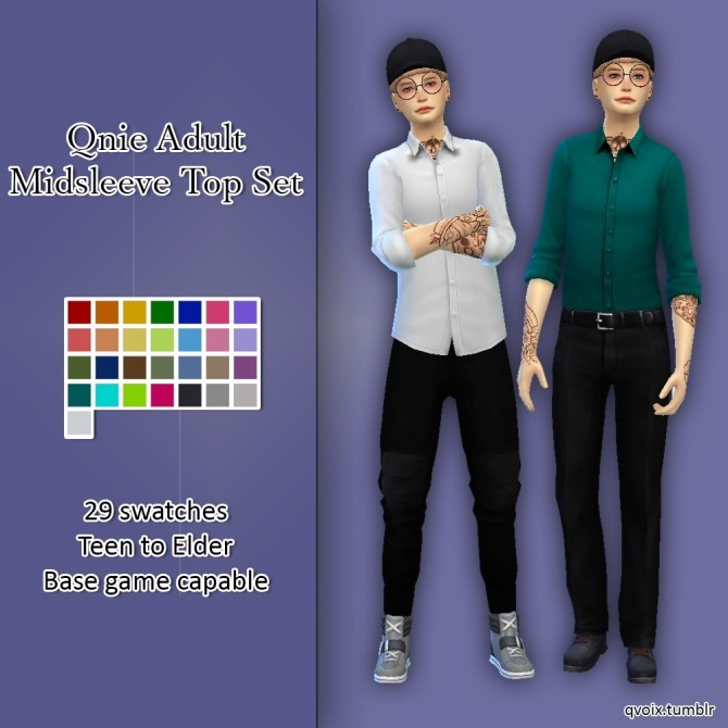 Midsleeve Top Set at qvoix – escaping reality image 928 670x670 Sims 4 Updates