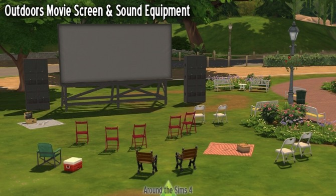 Outdoor Movie Screen set by Sandy at Around the Sims 4 image 932 670x391 Sims 4 Updates