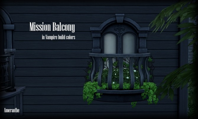 Mission balcony in vampire build colors at ameranthe for Sims 4 balcony