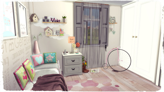 Sims 4 Girl Bedroom III at Dinha Gamer